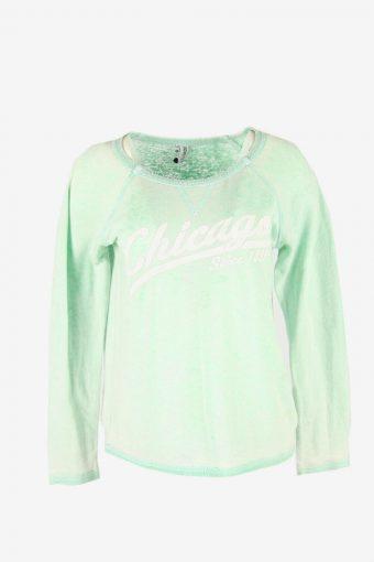 90s Sweatshirt Printed Vintage Pullover Sports Retro Light Green Size S