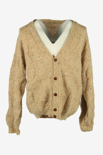 Cable Knit Wool Cardigan Vintage V Neck Pullover 90s Multi Size XL