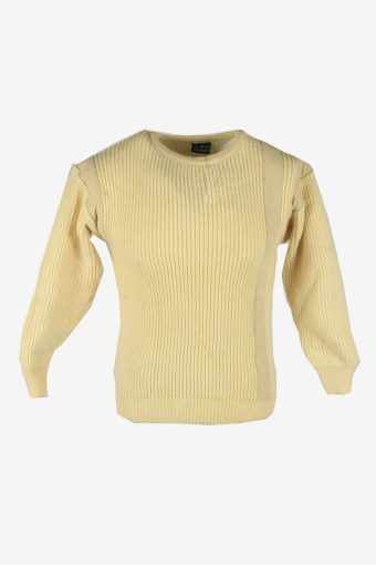 Cable Knit Wool Jumper Vintage Crew Neck Pullover 90s Cream Size XS