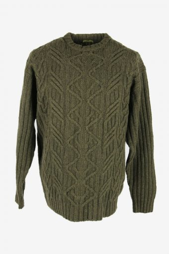 Cable Knit Wool Jumper Vintage Crew Neck Pullover 90s Khaki Size XL