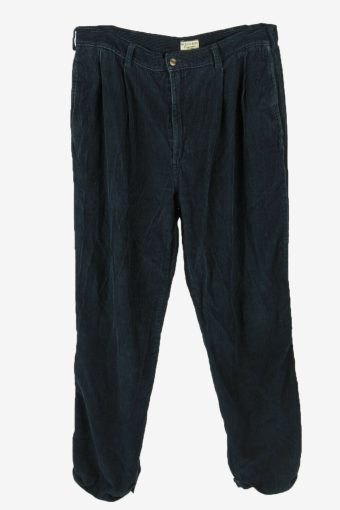 Corduroy Cord Trousers Vintage Loose Smart Casual Navy Size W36 L32