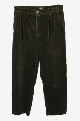 Corduroy Cord Trousers Vintage Loose Smart Dark Green Size