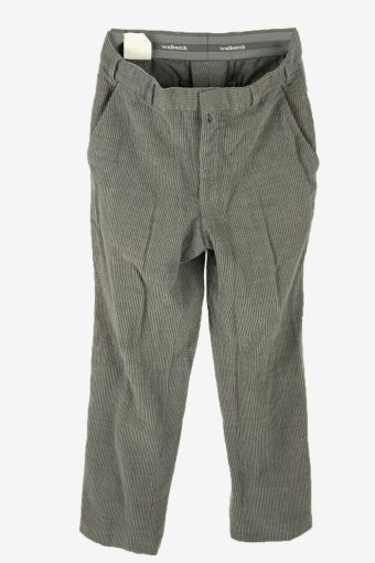 Corduroy Cord Trousers Vintage Relaxed Fit Smart Grey Size W33 L31