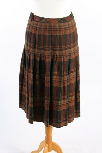 Del Mod Checkered Skirt  Long Lined 100% Wool Vintage Multi