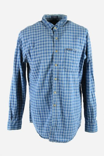 Dickies Mens Checked Shirt Long Sleeve Workwear 90s Blue Size L
