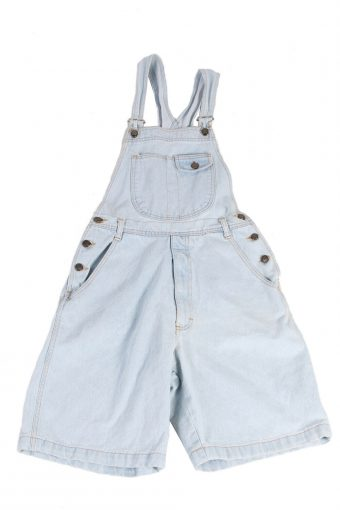 Dungarees Playsuit Denim High Class Top In Casual UK Vintage S Ice Blue