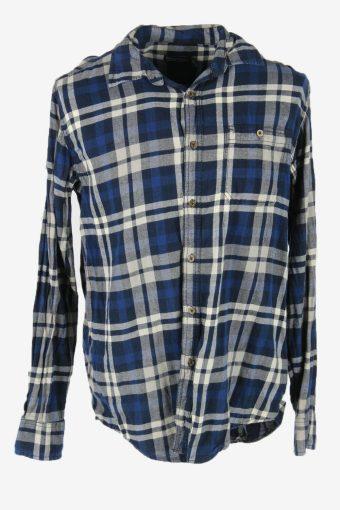 Flannel Shirt Vintage Check Long Sleeve Button 90s Cotton Blue Size M