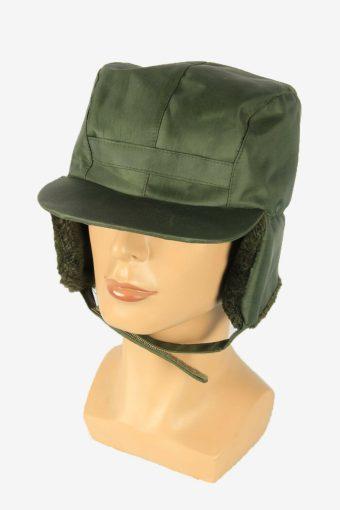 Fur Cap Hat Vintage Earflaps Ski Cossack Winter 90s Green Size 56 cm