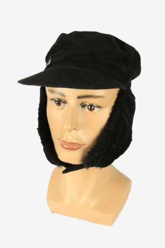 Fur Corduroy Cap Hat Vintage Earflaps Ski Cossack 90s Black Size