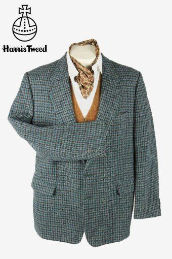 Harris Tweed Vintage Blazer Jacket Check Elbowpatch Country Blue Size XXL