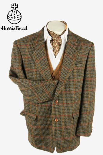 Harris Tweed Vintage Blazer Jacket Check Windowpane Weave Multi Size L