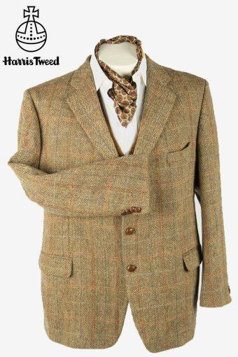 Harris Tweed Vintage Blazer Jacket Herringbone Windowpane Beige Size XL