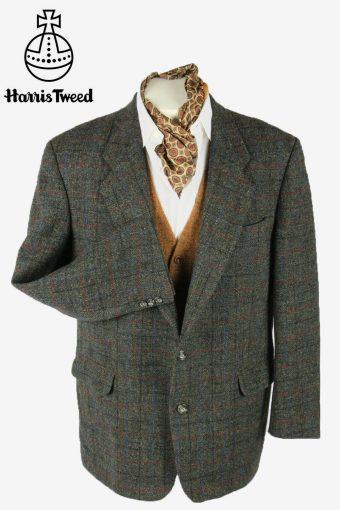 Harris Tweed Vintage Blazer Jacket Windowpane Weave Grey Size XL
