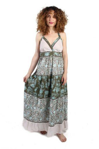 Maxi Dress with Halter Neck Printed Summer Beach Vintage