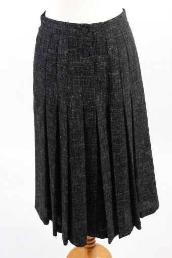 Mid Length Skirt Lined Pleated Buttoned Wool Vintage Black