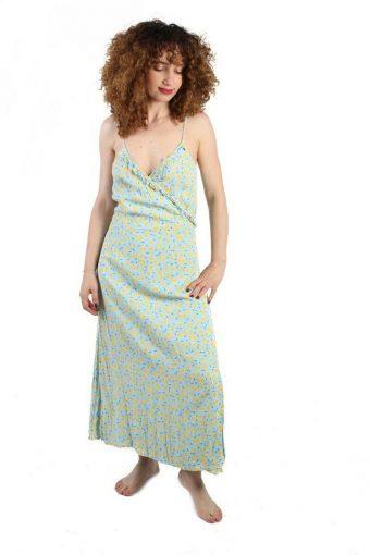 Monoprix Femme Wrap Dress Lemon Printed A-Line Vintage Maxi Dress-40