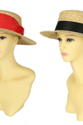 New Paper Straw Boater Hat Sailor Skimmer Black/Red Band Hawkins Summer Sun Cap