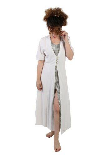 Orsay A-Line Maxi Vintage Dress Short Sleeve- White M