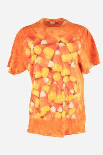 Printed Tie Dye T-Shirt Retro Music Festival Hipster Women Orange Size L