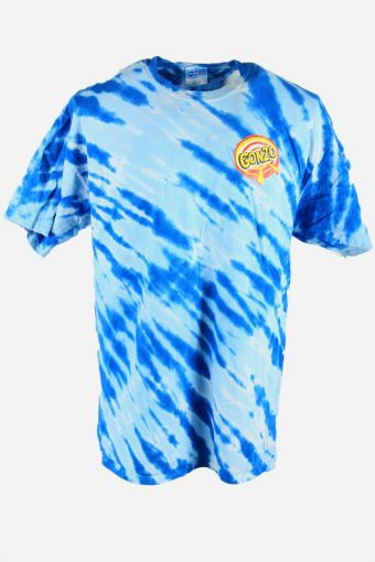 Rainbow Tie Dye T-Shirt Retro Music Festival Hipster Men Blue Size XL
