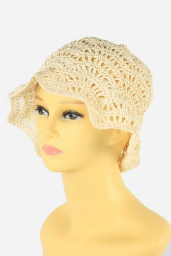 Straw Style Hat Brimmed Summer Bowknot 90s Retro Cream Size 57 cm