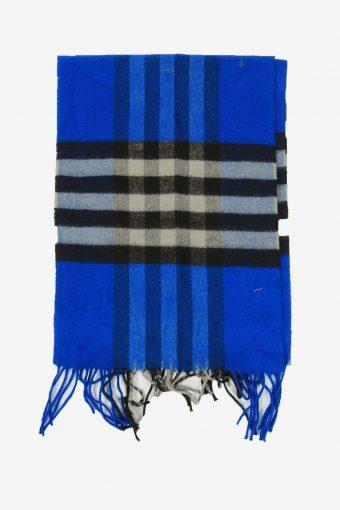 Tartan Scarf  Vintage Check Tassel Soft Winter 90s Retro Blue
