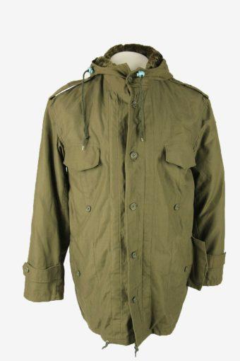 Vintage Army Military  Parka Coat Jacket German Flag Hooded Khaki Size L