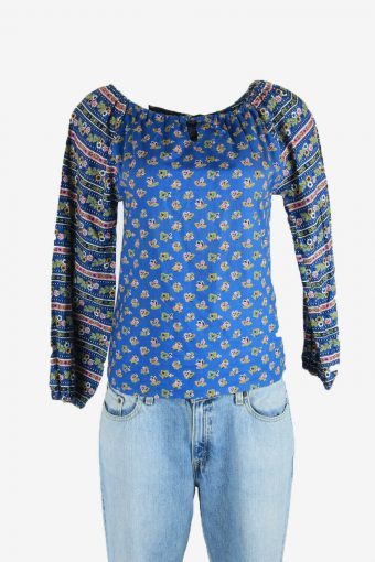 Vintage Embroidered Hippie Gypsy Blouse Tunic Top Kaftan Blue Size S
