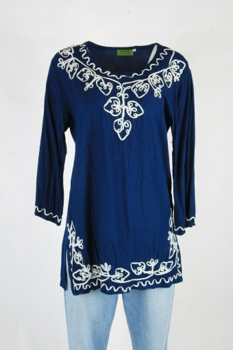 Vintage Embroidered Hippie Gypsy Blouse Tunic Top Kaftan Navy Size L