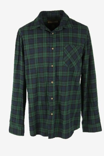 Vintage Flannel Shirt Check Long Sleeve Button 90s Cotton Green Size L