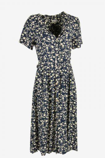 Vintage Floral Midi Dress Short Sleeve Collared 90s Retro Navy Size L