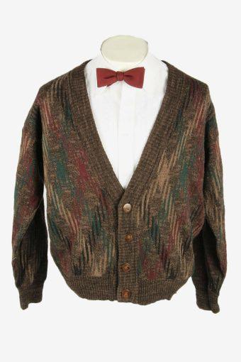 Vintage Knit Cardigan V Neck Pocket Cosby Button Up 90s Brown Size M