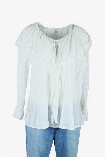 Vintage Plain Blouse Boho Indian Tunic Kaftan Smock 90s White Size M