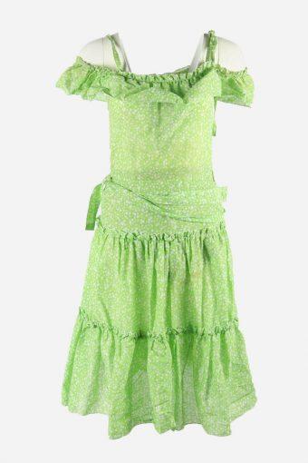 Vintage Polka Dot Dress Sleeveless  Fit & Flare Scoop Neck Green Size S