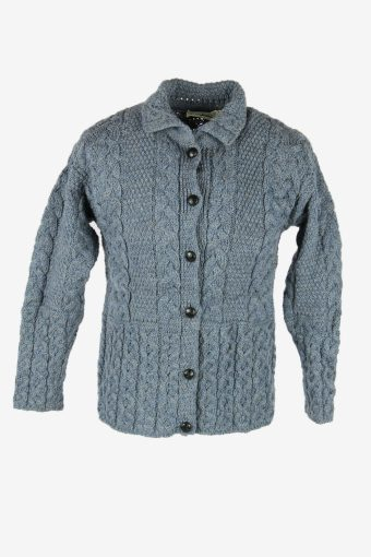 Vintage Wool Cardigan Cable Knit Collared Button Pullover Blue Size S