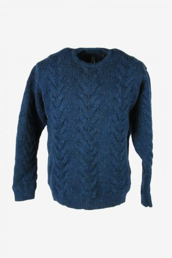 Vintage Wool Jumper Cable Knit Crew Neck Pullover 90s Blue Size M