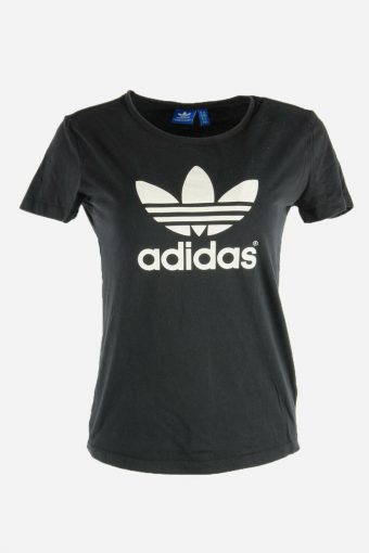 Women Adidas T-Shirt Tee Short Sleeve Sports 90s Retro Black Size M