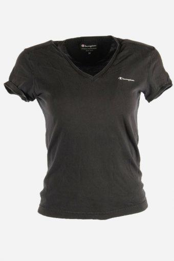 Women Champion T-Shirt Tee Short Sleeve Sports Vintage 90s  Black Size M
