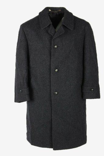 Wool Vintage Coat Jacket Casual Winter Warm Blend Lined Navy Size XXL