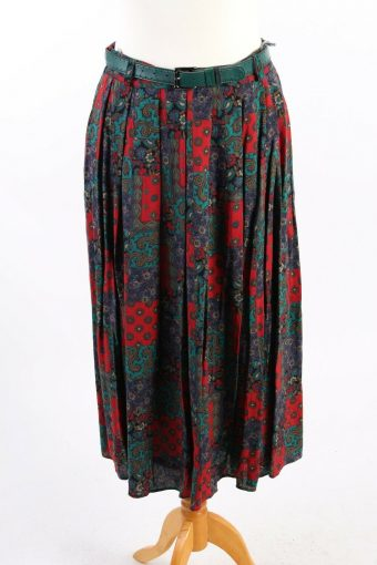 Yorn Printed Floral Skirt Long Lined With Stylish Belt Vintage Multi