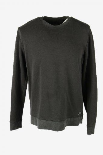 90s Sweatshirt Plain Vintage Pullover Sports Retro Black Size L