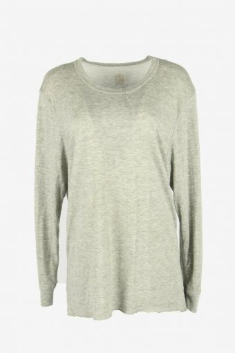 90s Sweatshirt Plain Vintage Pullover Sports Retro Grey Size L