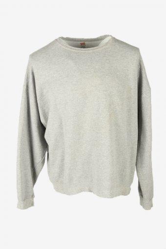 90s Sweatshirt Plain Vintage Pullover Sports Retro Grey Size XL