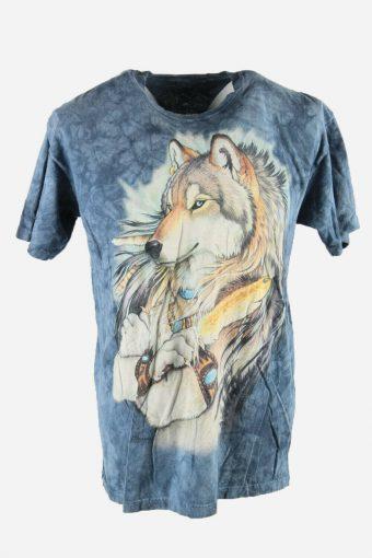 Animal Print Tie Dye T-Shirt Retro Festival Hipster Men Multi Size L