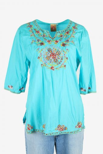 Beaded Blouse Tunic Top Hippie Gypsy Vintage Kaftan Turquoise Size L