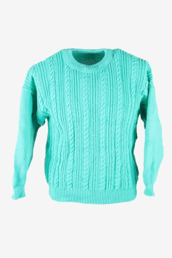 Cable Knit Wool Jumper Vintage Crew Neck Pullover 90s Turquoise Size S