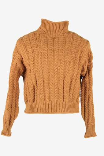 Cable Knit Wool Jumper Vintage Turtle Neck Pullover 90s Camel Size XL