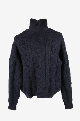 Cable Knit Wool Jumper Vintage Turtle Neck Pullover 90s Navy Size XL