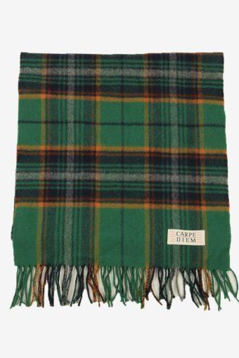 Check Tartan Scarf Vintage Soft Tassel Plaid Warm 90s Retro Green