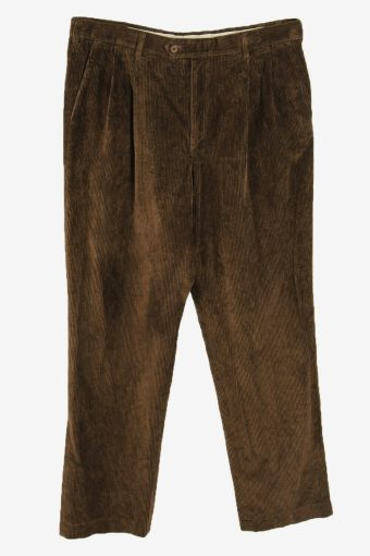 Corduroy Cord Trousers Vintage Loose Smart Casual Brown Size W38 L34